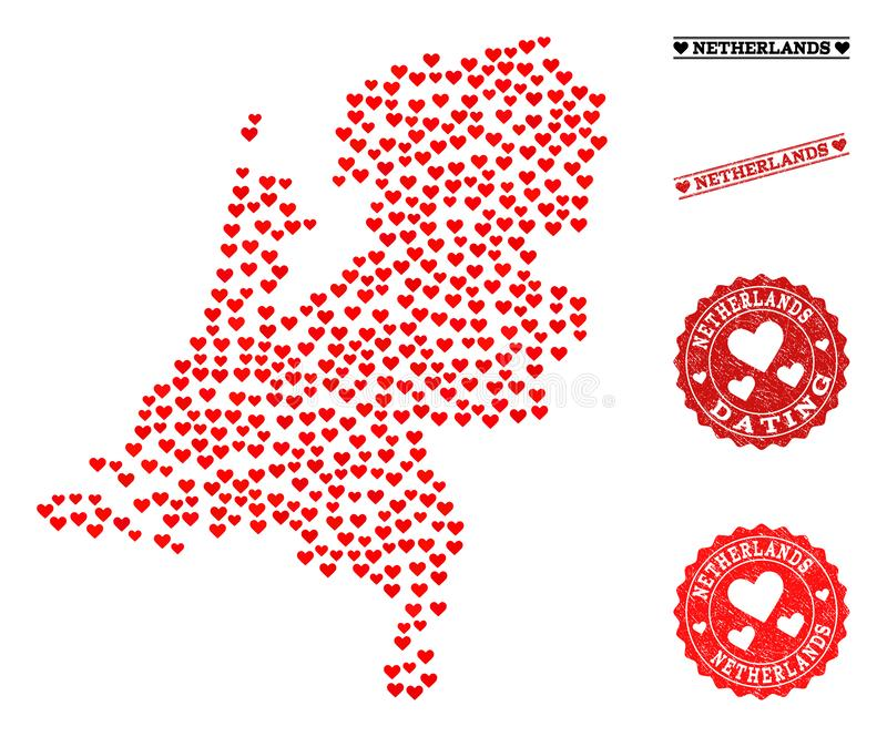 Mappa del collage di amore dei Paesi Bassi e dei bolli di lerciume per i biglietti di S. Valentino royalty illustrazione gratis