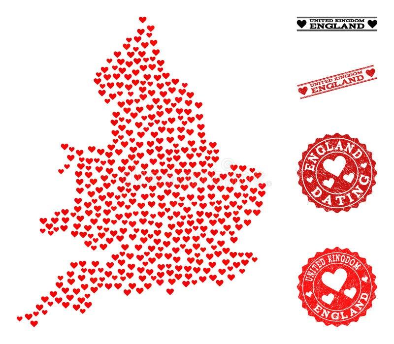 Mappa del collage di amore dell'Inghilterra e dei bolli di lerciume per i biglietti di S. Valentino illustrazione vettoriale