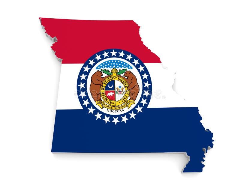 Mappa del confine e bandiera geografiche dello stato su un fondo bianco, del Missouri rappresentazione 3D illustrazione vettoriale