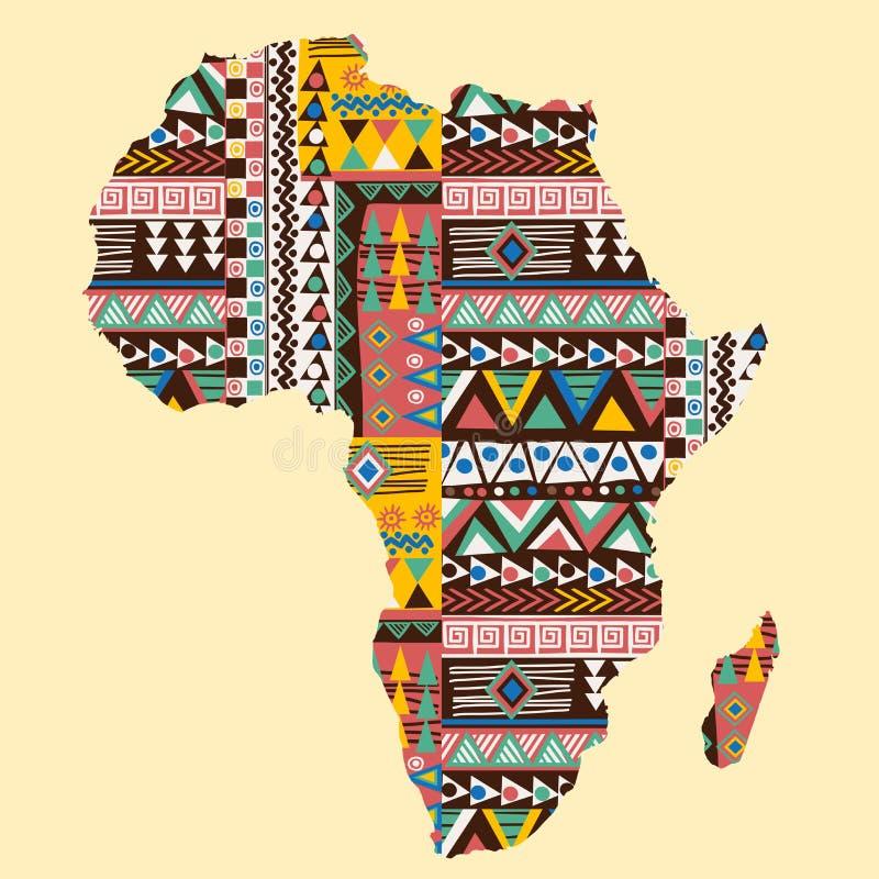Mappa del continente dell'Africa decorata con il modello etnico illustrazione di stock