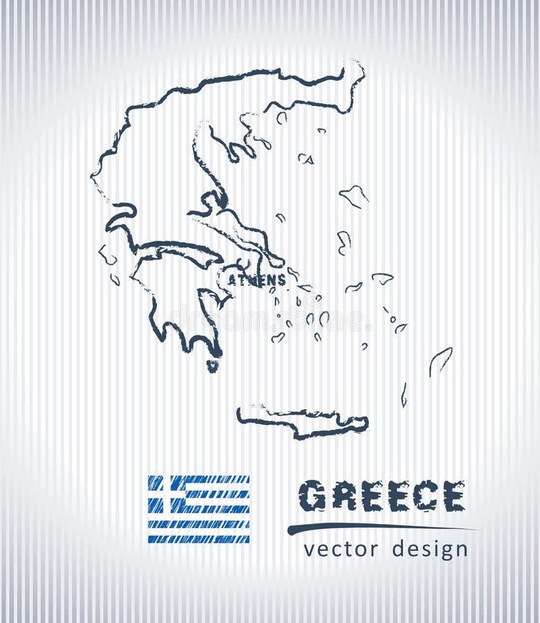 Mappa del disegno di gesso di vettore della Grecia isolata su un fondo bianco illustrazione vettoriale