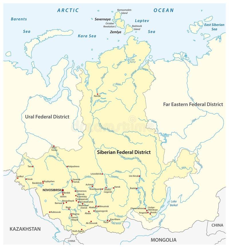 Mappa del distretto federale siberiano russo con le città ed i fiumi importanti royalty illustrazione gratis