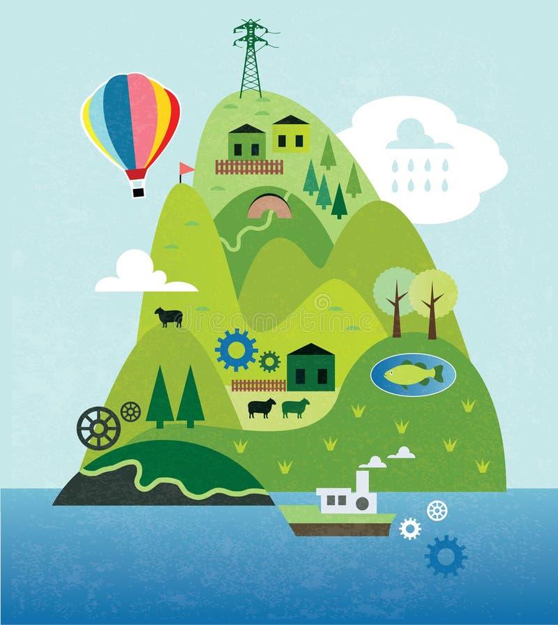 Mappa del fumetto con l'isola royalty illustrazione gratis