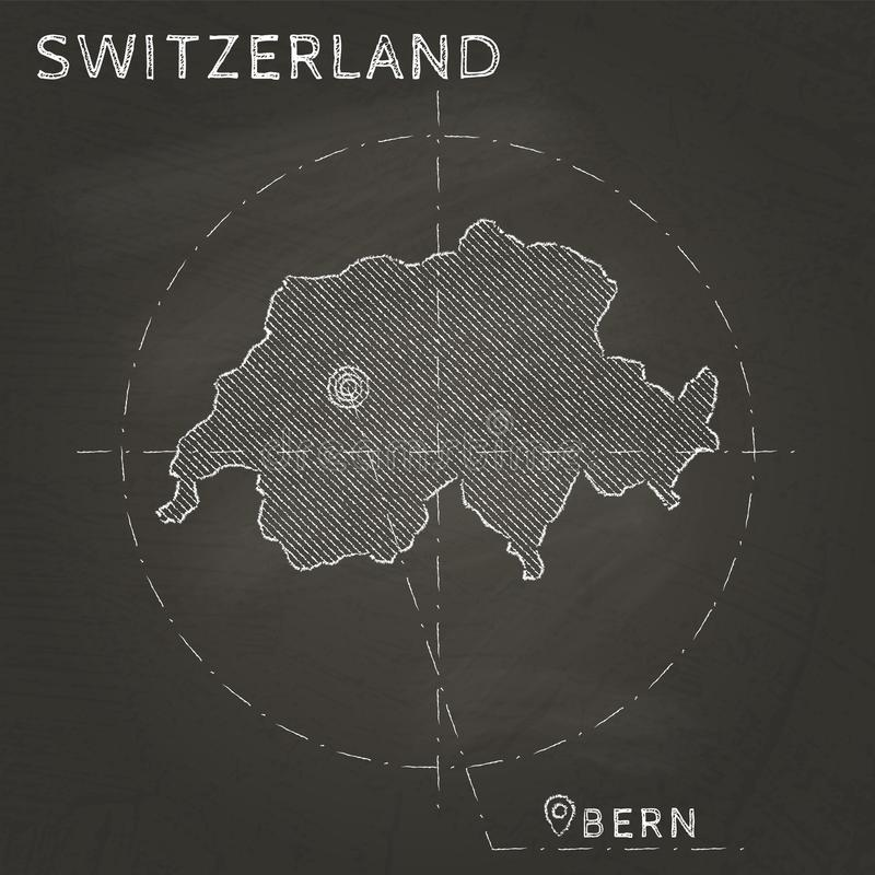 Mappa del gesso della Svizzera con la profonda mano del capitale royalty illustrazione gratis