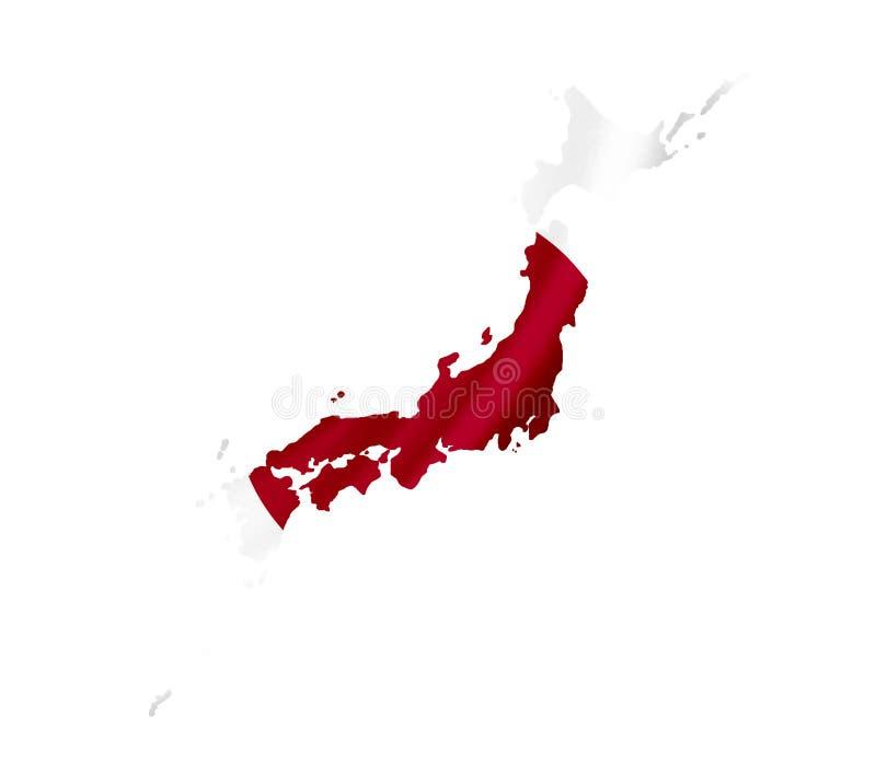 Mappa del Giappone con la bandiera d'ondeggiamento isolata su bianco fotografia stock