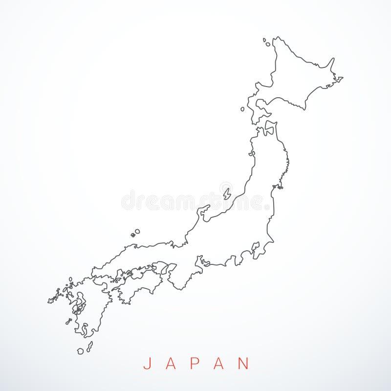 Mappa del Giappone di contorno di vettore illustrazione vettoriale