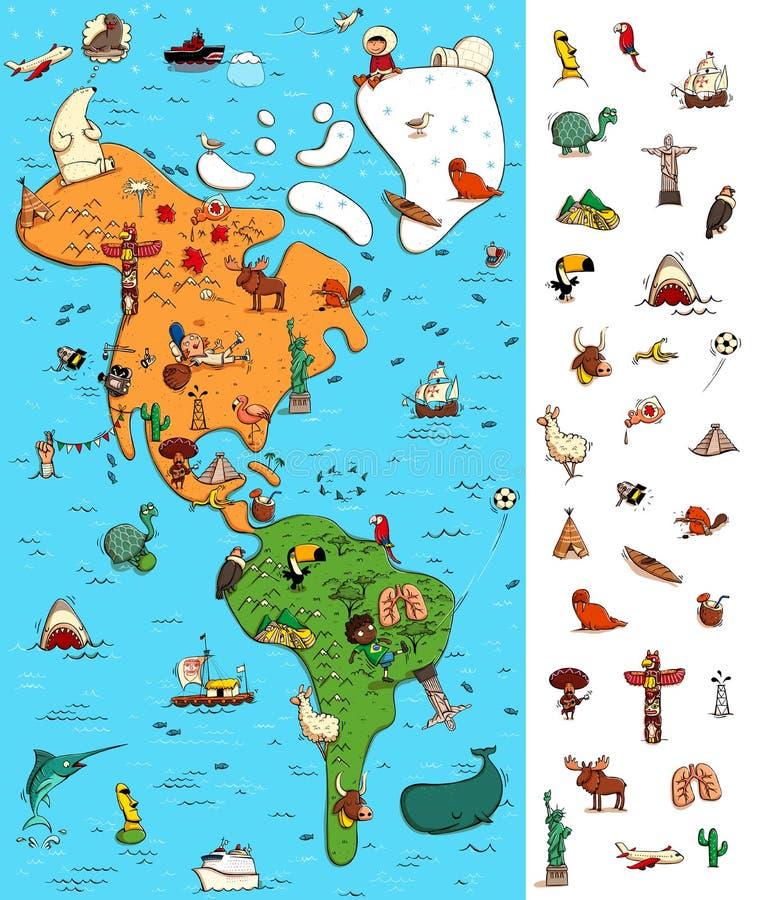 Mappa del gioco di rappresentazione dell'America Locate ha isolato gli oggetti su una mappa royalty illustrazione gratis