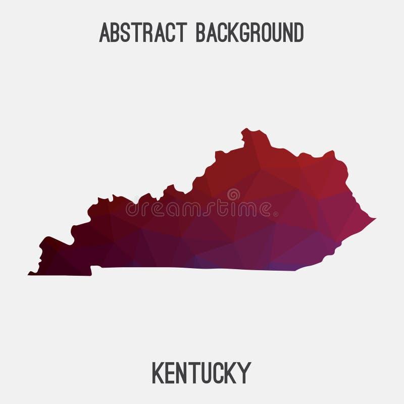 Mappa del Kentucky in poligonale geometrico, stile del mosaico illustrazione vettoriale