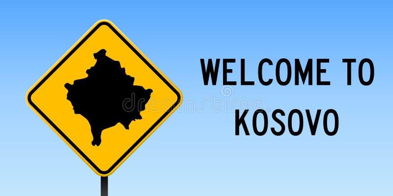 Mappa del Kosovo sul segnale stradale illustrazione di stock