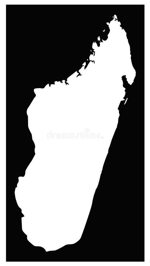 Mappa del Madagascar - paese di isola nell'Oceano Indiano illustrazione di stock
