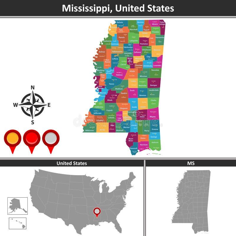 Mappa del Mississippi, Stati Uniti illustrazione di stock