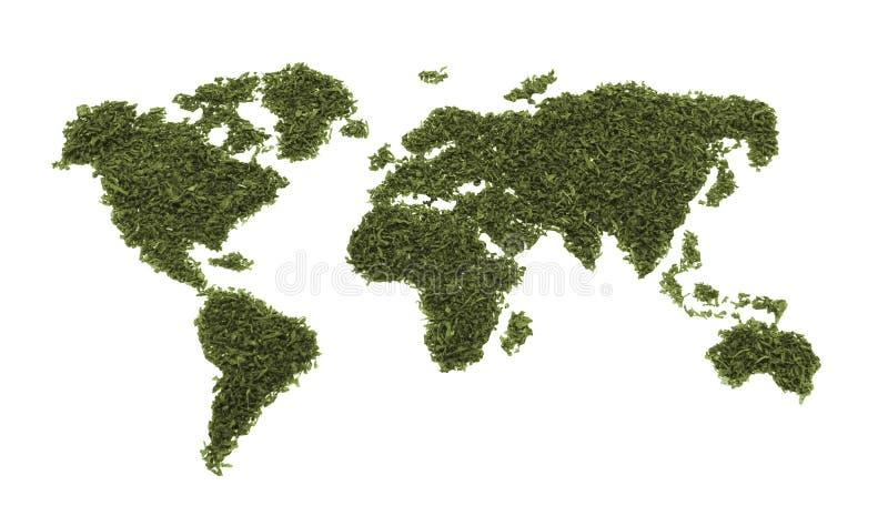 Mappa del mondo da tè o da tabacco isolato immagini stock