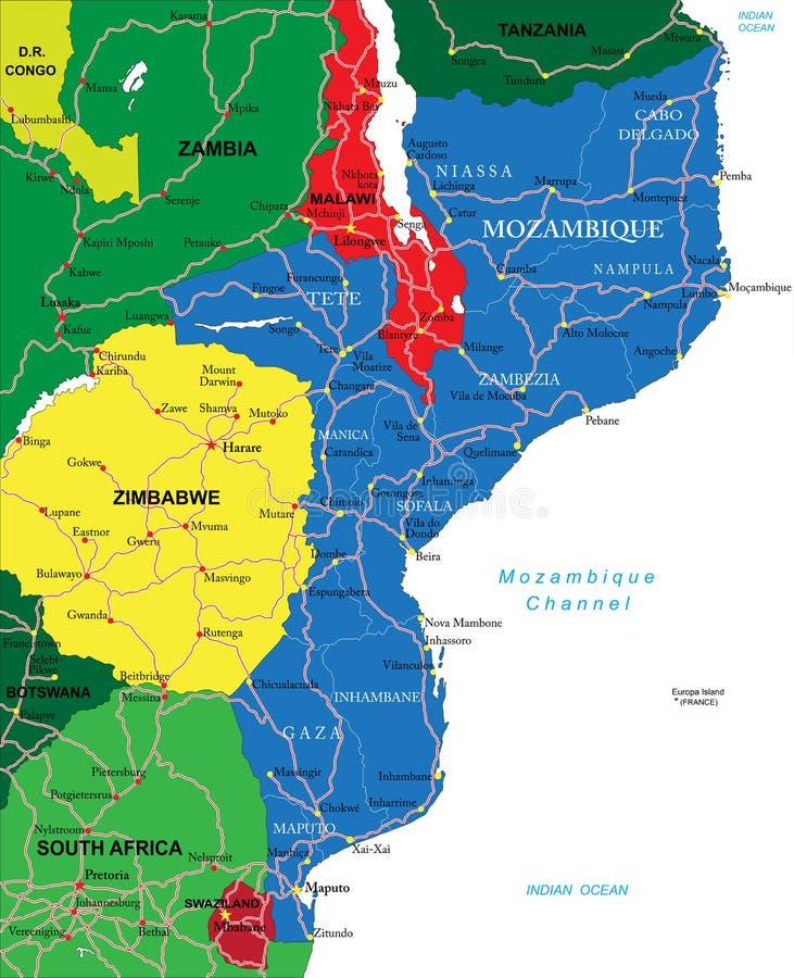 Mappa Del Mozambico Immagine Stock Libera da Diritti
