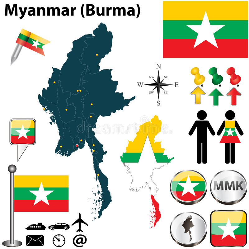 Mappa del Myanmar immagini stock