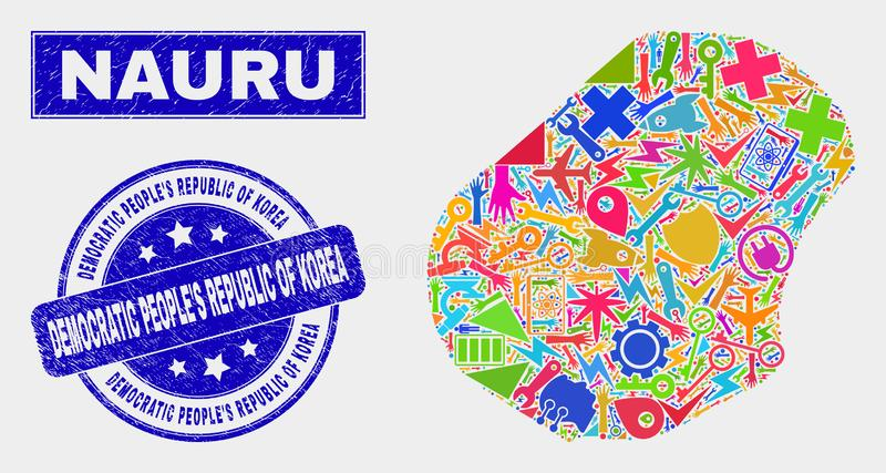 Mappa del Nauru del mosaico e guarnizione industriali di Repubblica Popolare Democratica di Corea di emergenza royalty illustrazione gratis