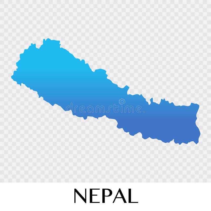 Mappa del Nepal nella progettazione dell'illustrazione del continente dell'Asia illustrazione vettoriale