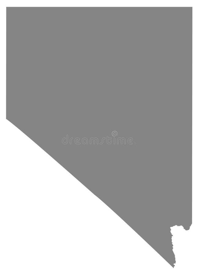 Mappa del Nevada - stato nell'occidentale, in montagna ad ovest e nelle regioni sudoccidentali degli Stati Uniti illustrazione vettoriale