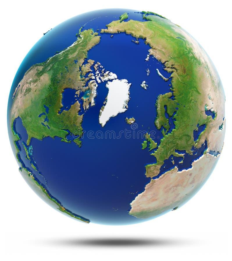 Mappa del nord 3d - Artide della terra royalty illustrazione gratis