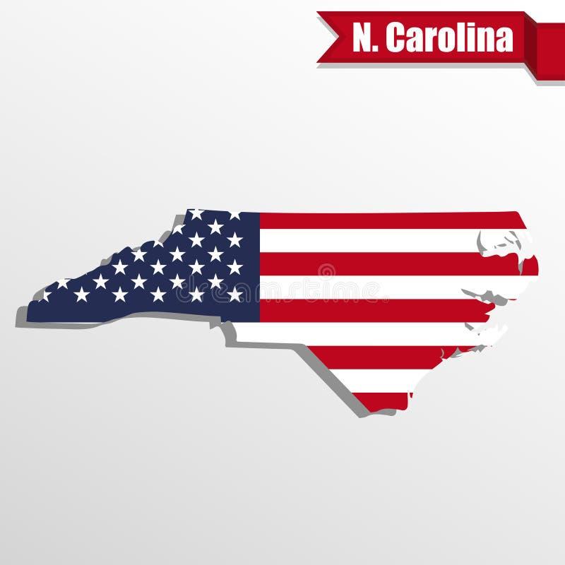 Mappa del nord di Carolina State con la bandiera degli Stati Uniti interna ed il nastro illustrazione vettoriale