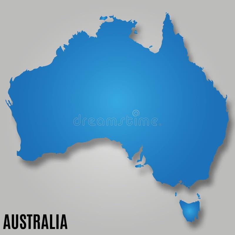 Mappa del paese del continente dell'Australia illustrazione vettoriale