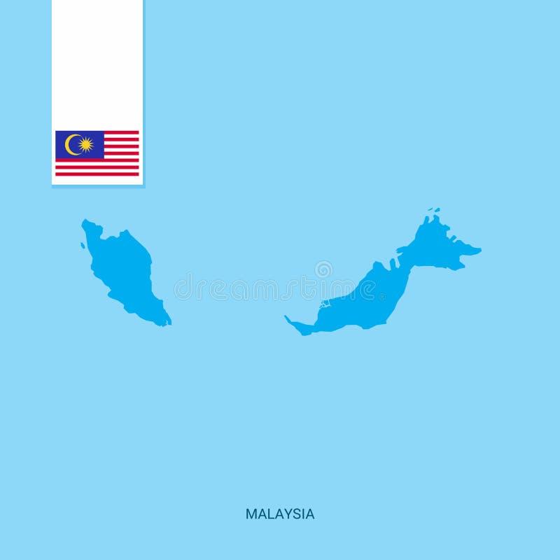 Mappa del paese della Malesia con la bandiera sopra fondo blu illustrazione di stock