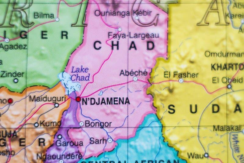 Mappa del paese della Repubblica del Chad fotografia stock libera da diritti