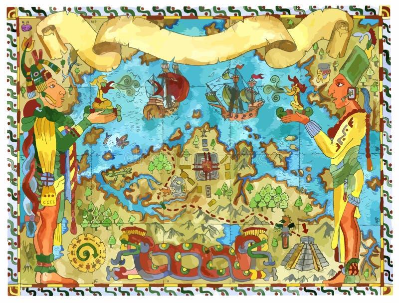 Mappa del pirata di vettore dei tesori degli Aztechi e di maya con le navi ed i mostri di navigazione anziani illustrazione di stock