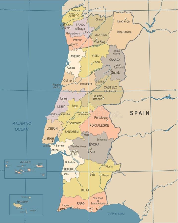 Cartina Portogallo Dettagliata.Mappa Del Portogallo Illustrazione Dettagliata Di Vettore