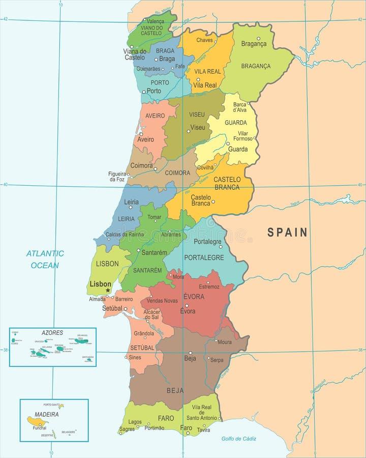 Portogallo Cartina Dettagliata.La Mappa Dettagliata Del Portogallo Con Le Regioni O Stati E