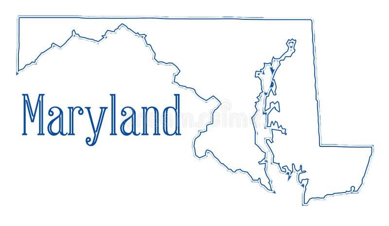 Mappa del profilo dello stato di Maryland illustrazione vettoriale