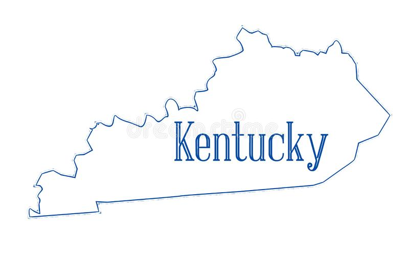 Mappa del profilo dello stato del Kentucky illustrazione vettoriale