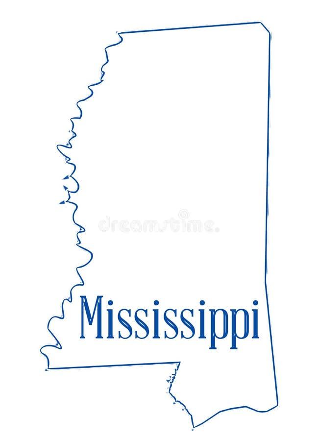 Mappa del profilo dello stato del Mississippi royalty illustrazione gratis