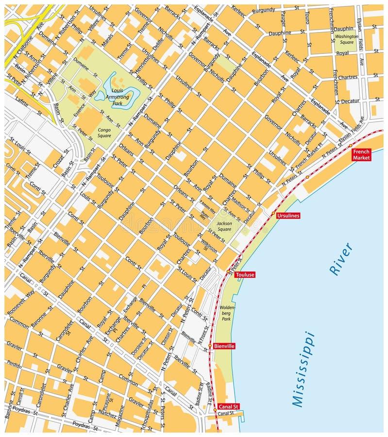 Mappa del quartiere francese, New Orleans illustrazione vettoriale