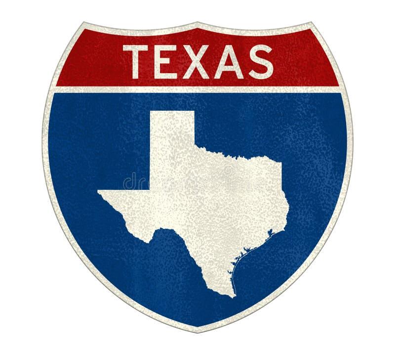 Mappa del segnale stradale del Texas illustrazione di stock