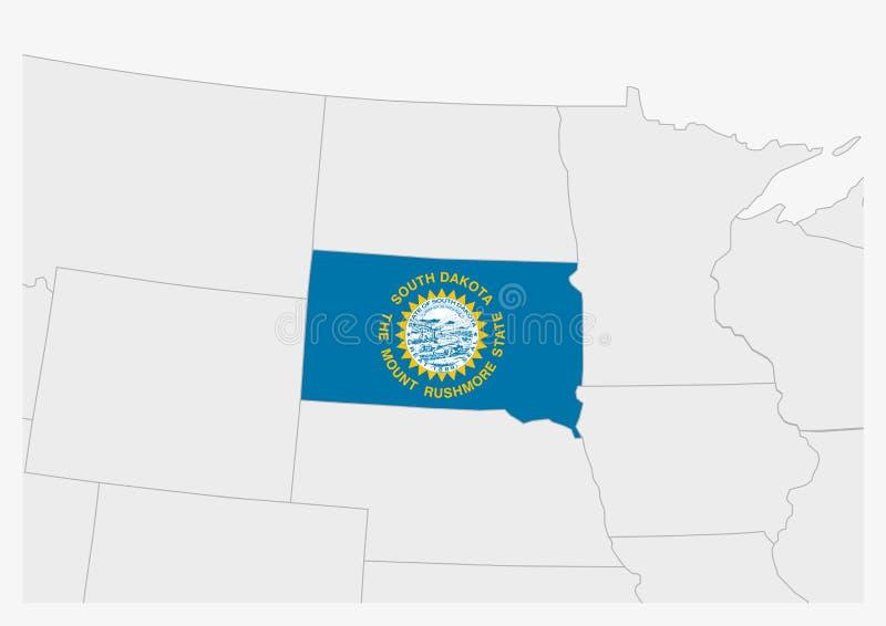 Mappa del South Dakota evidenziata dagli Stati Uniti nei colori dei flag del South Dakota royalty illustrazione gratis