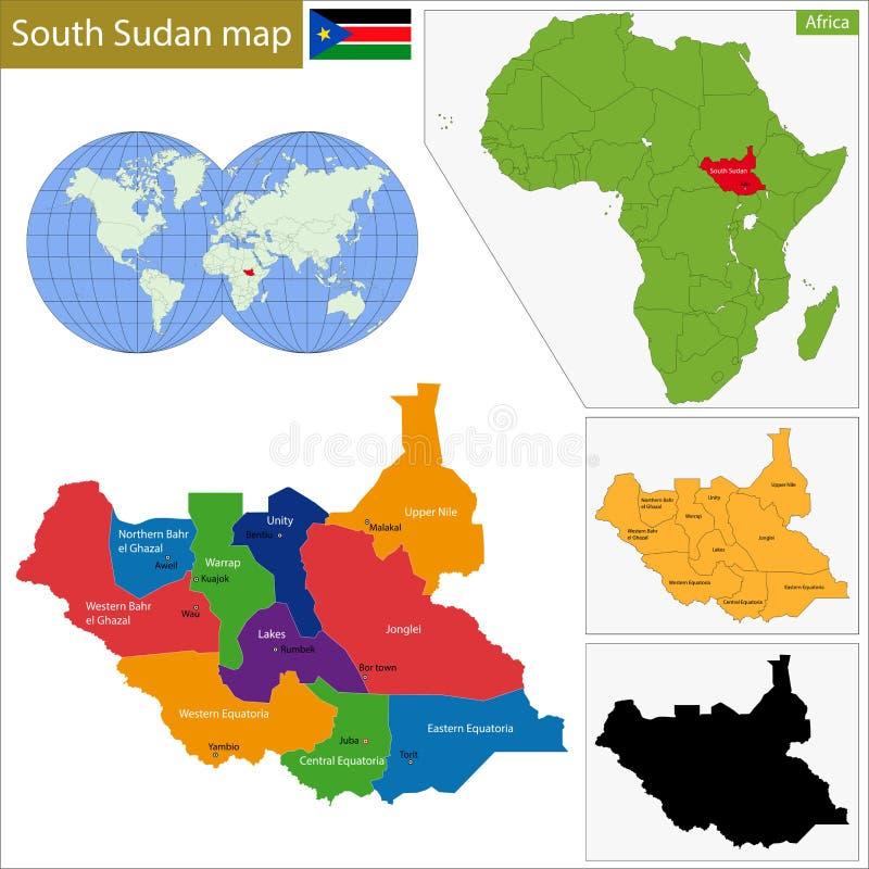 Mappa del sud del Sudan illustrazione vettoriale