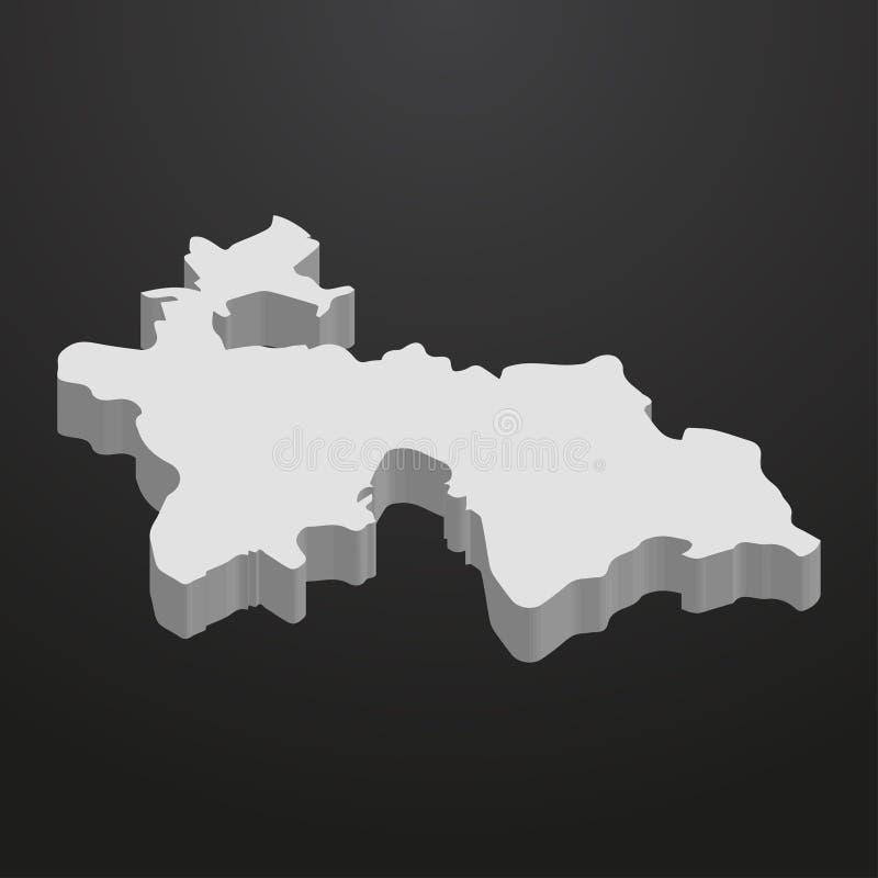 Mappa del Tagikistan nel gray su un fondo nero 3d royalty illustrazione gratis