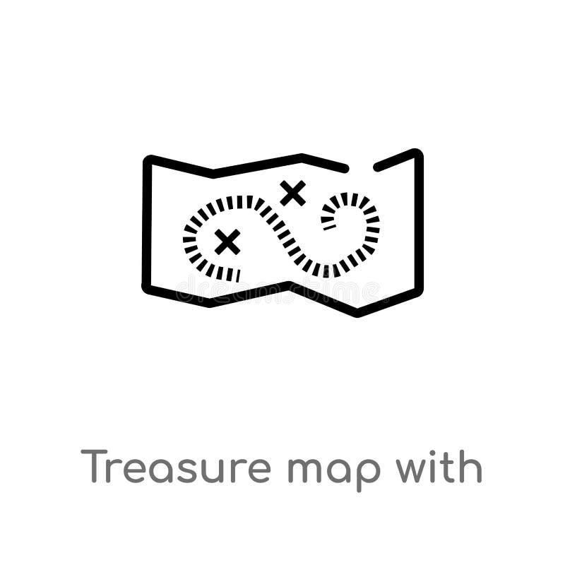 mappa del tesoro del profilo con l'icona di vettore di x linea semplice nera isolata illustrazione dell'elemento dalle mappe e da illustrazione vettoriale