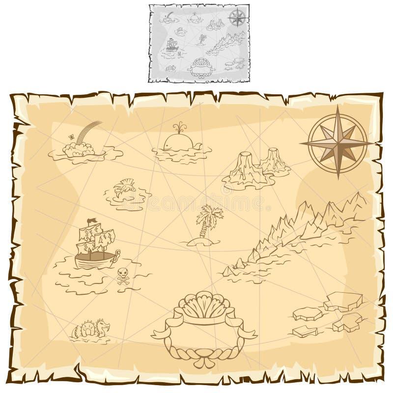 Mappa del tesoro su vecchia pergamena Vettore illustrazione di stock