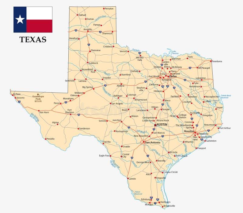 Mappa del Texas con la bandiera illustrazione di stock