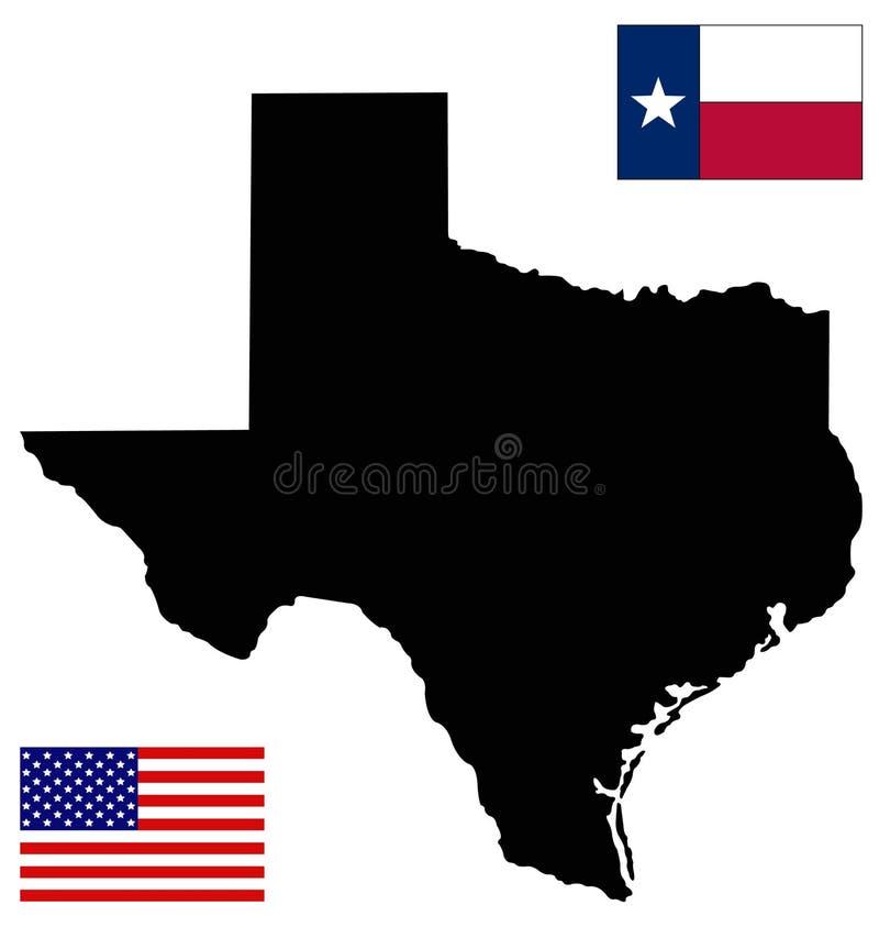 Mappa del Texas e bandiera con la bandiera di U.S.A. - lo stato secondo più esteso negli Stati Uniti illustrazione di stock