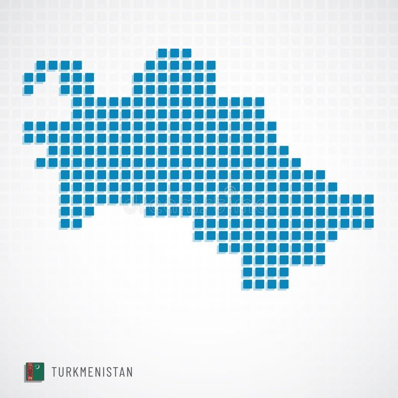Mappa del Turkmenistan ed icona della bandiera illustrazione di stock