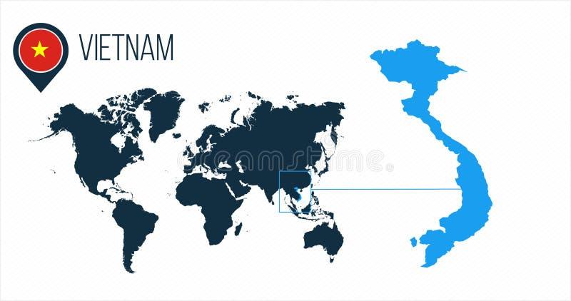 Mappa del Vietnam situata su una mappa di mondo con la bandiera e puntatore o perno della mappa Mappa di Infographic Illustrazion illustrazione di stock