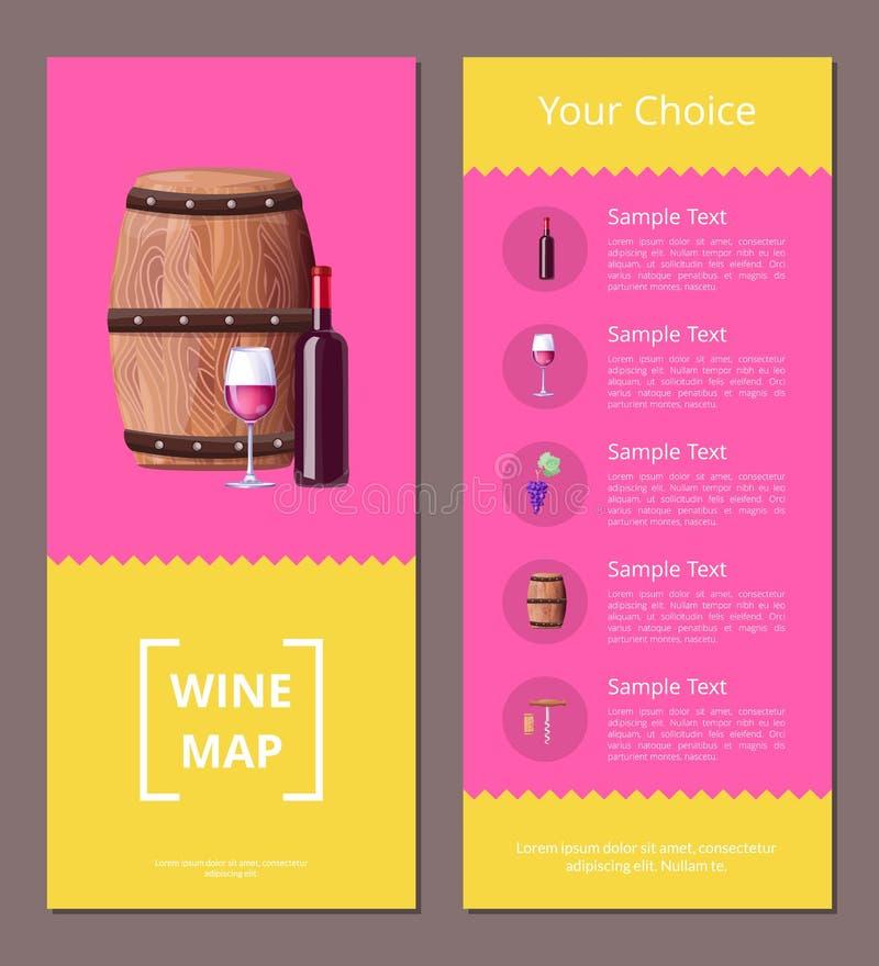 Mappa del vino e le vostre icone del manifesto di vantaggi di scelta royalty illustrazione gratis