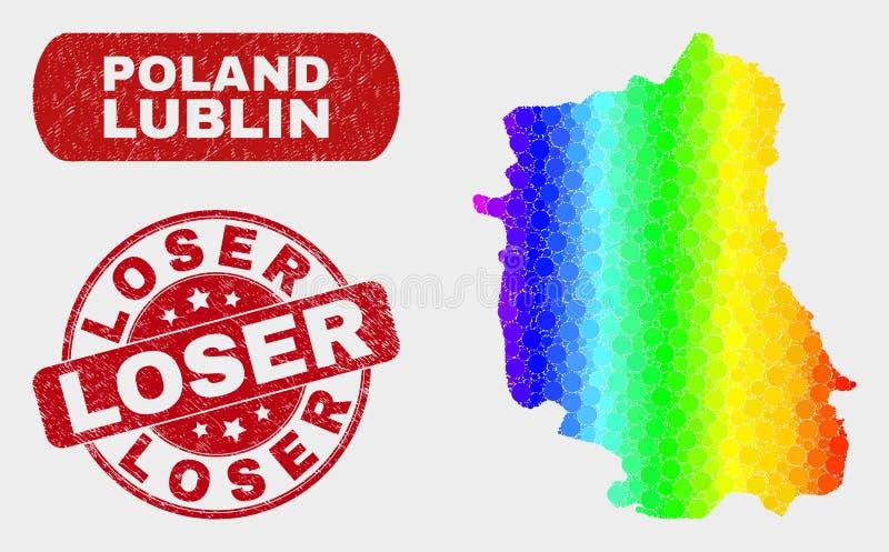 Mappa del voivodato di Lublino del mosaico e bollo luminosi del perdente di lerciume illustrazione di stock
