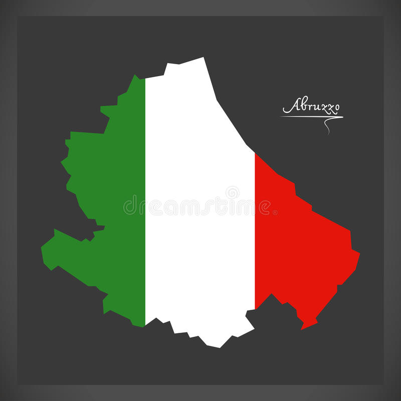 Mappa dell'Abruzzo con l'illustrazione italiana della bandiera nazionale illustrazione di stock