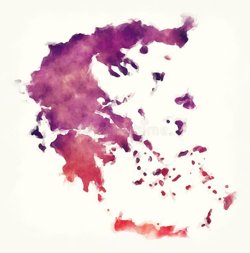 Mappa dell'acquerello della Grecia davanti ad un fondo bianco royalty illustrazione gratis