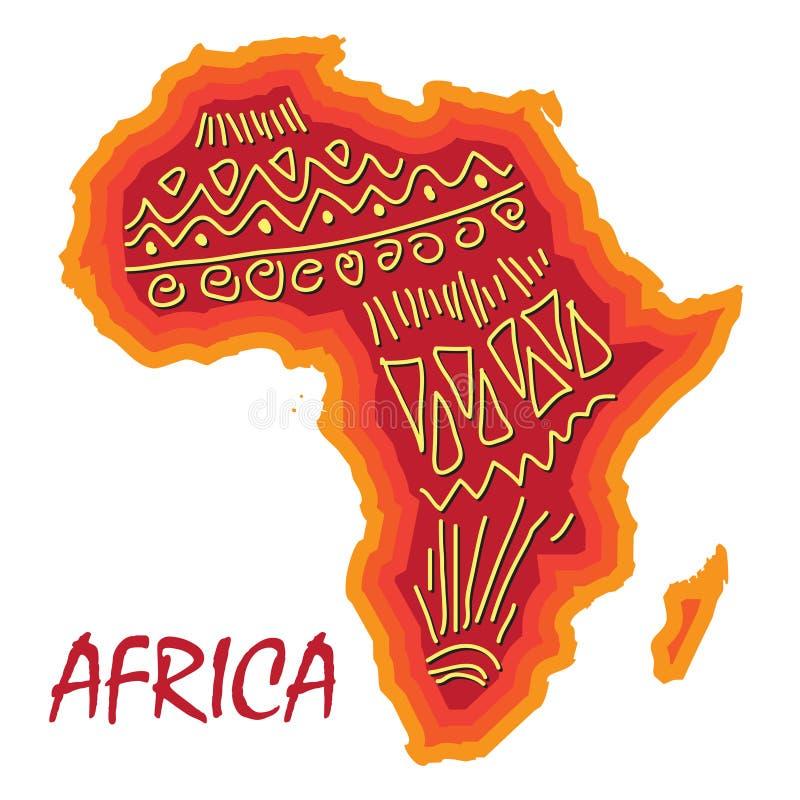 Mappa dell'Africa con il modello antico differente illustrazione di stock