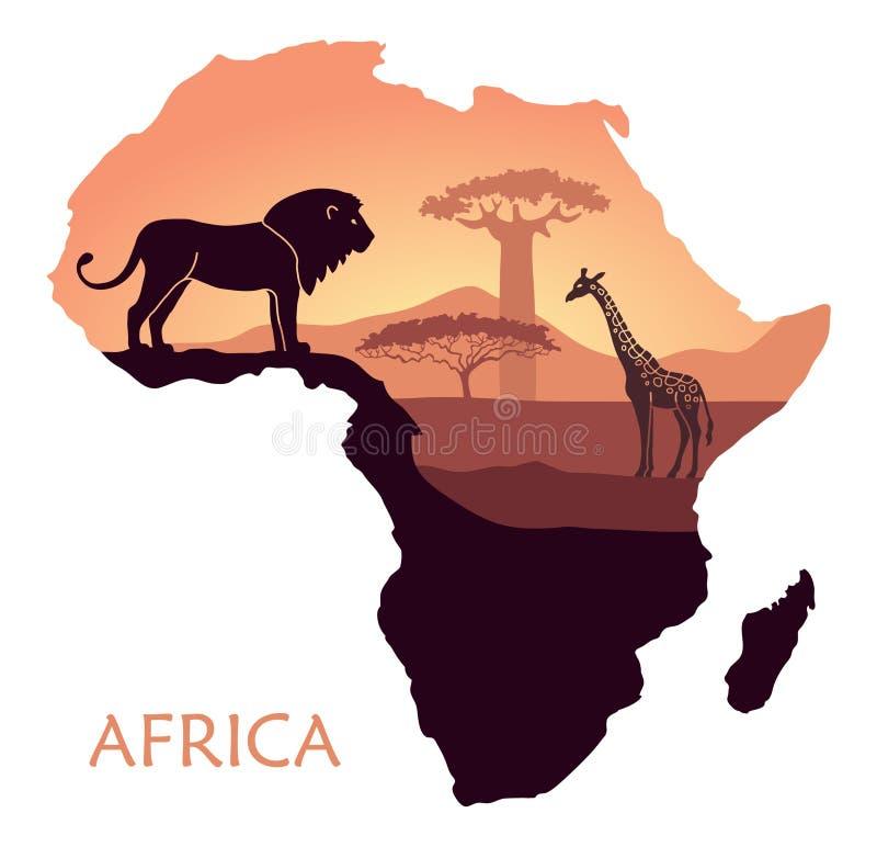 Mappa dell'Africa con il paesaggio del tramonto nella savana, nel leone, nella giraffa, nel baobab e nell'acacia Fondo di vettore illustrazione di stock