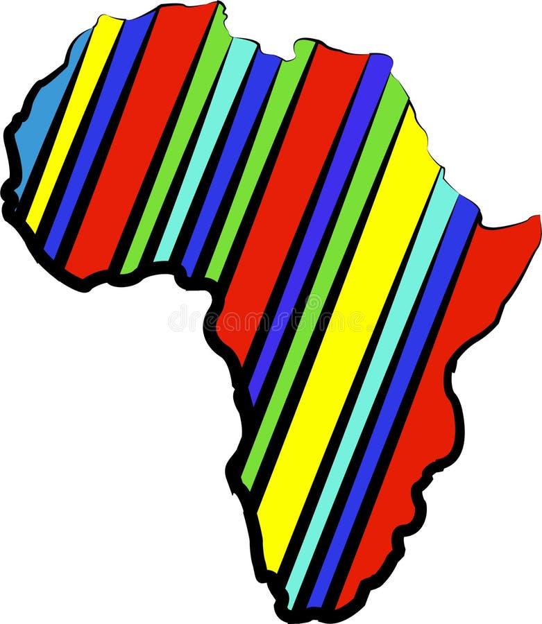 Mappa dell'Africa di colore Siluetta astratta dell'Africa illustrazione vettoriale